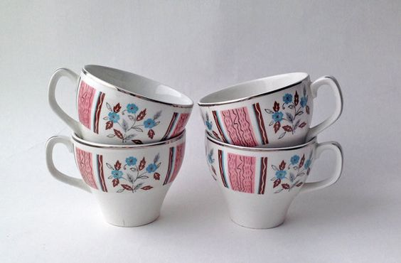 1950s Woods England Demitasse Tea / Coffee Cups. Mid Century Design by gardenfullofVintage on Etsy