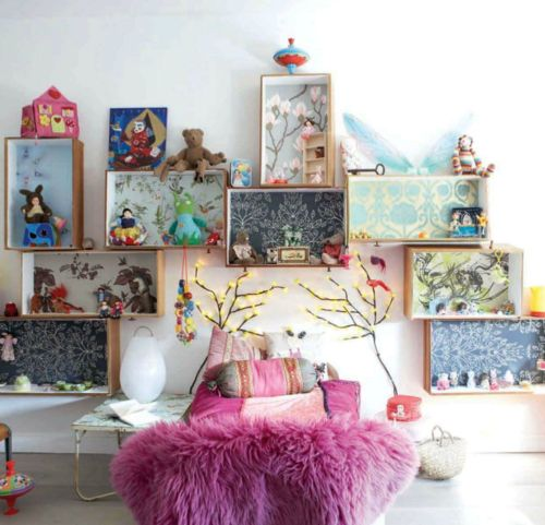might be fun in a playroom..little vignettes instead of a dollhouse. legos, dolls, etc.