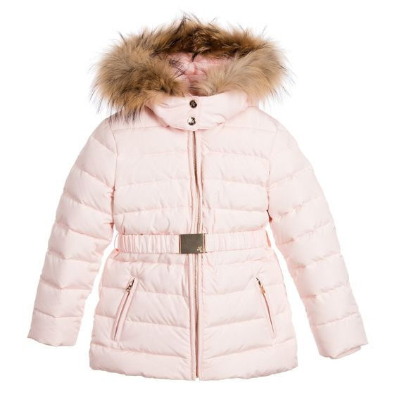 Girls Pink Padded Puffer Coat with Fur | Coats Pink and Fur