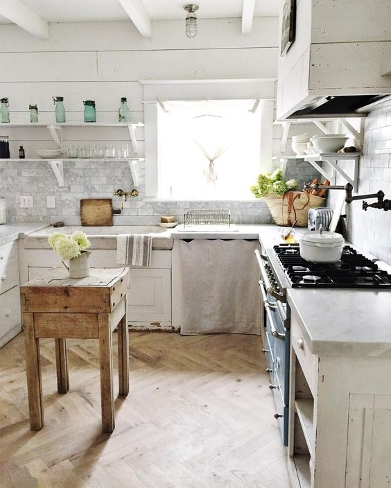 Rustic elegance and farmhouse chic had a baby and named it Maria Carr's French inspired farmhouse kitchen! #Frenchfarmhouse #herringbonefloor