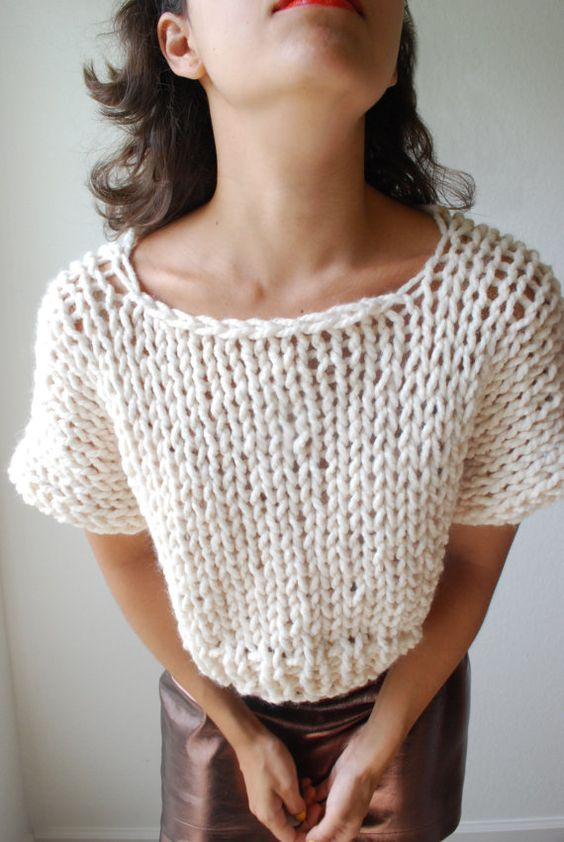Knitted Summer Tops Patterns : The SOHO Crop Top Sweater Hand Knit in Fisherman par RememberADay knitting,...