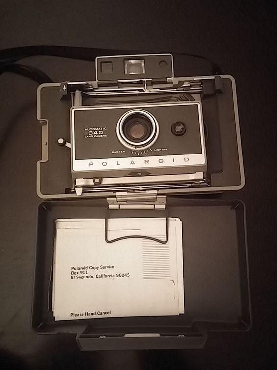 Polaroid 340 Land Instant Film Camera - w/ manual - Folding Bellows RangeFinder #Polaroid