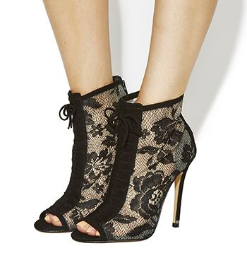 Office PREMIUM Beauty Lace Shoe Boots Black Lace - High Heels ...