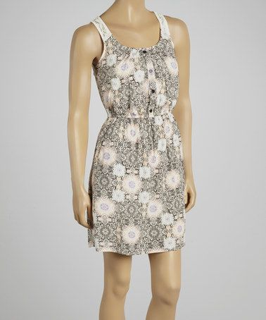 Off-White & Black Floral Cutout Sleeveless Dress by Rachael and Chloe #zulily #zulilyfinds