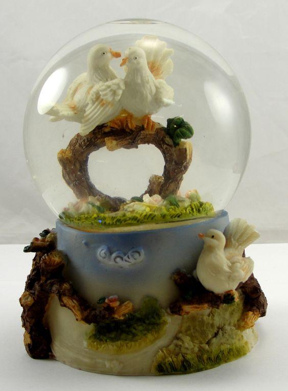 Snow Globe Love Birds Springtime Heart Shaped Bough