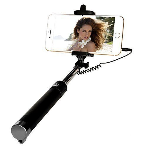 Wired Selfie Stick Iphone Sumsung Compact Black Design 270 Degree Adjustable New #Yoyamo