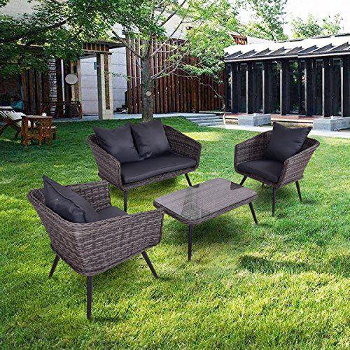 Tangkula 4 PCS Patio Sofa Set Outdoor Loveseat Sofas Chat Set