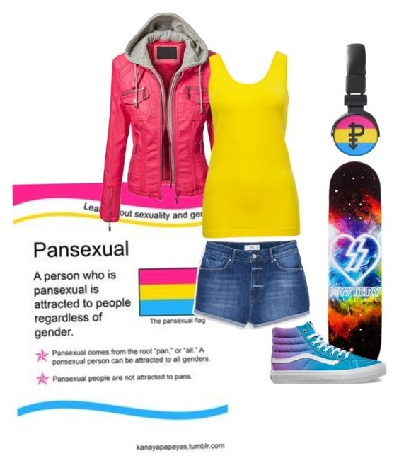 """Pansexual Pride"" by ara-m ❤ liked on Polyvore featuring MANGO, Vans, lgbtq and lovewins"