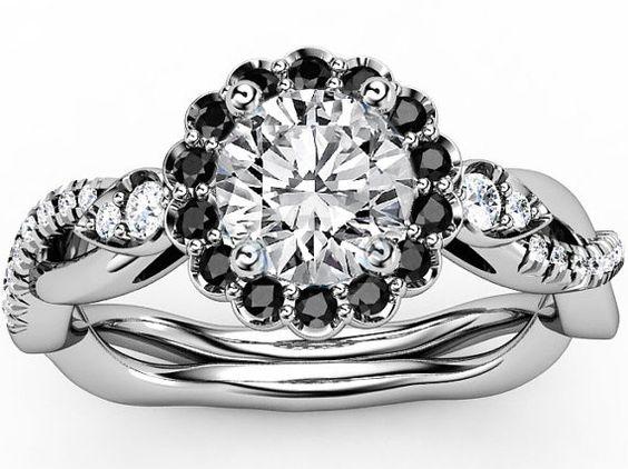 Engagement Ring 14 K White Gold, Fashionable Waveform Full Width Set By 0.30 Princess Diamond - Beautiful Ring Photo