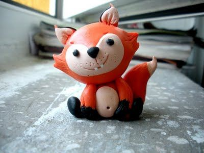 polymer clay fox.handmade toy