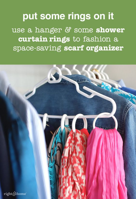 Use a wooden hanger and some shower curtain rings to fashion a space-saving and attractive scarf organizer. Your scarves will be easy to find and wrinkle free. So the rings don't slide too much, tie a piece of string tightly around both the hanger and shower ring. (If you have enough scarves on the hanger, this may not be necessary.)