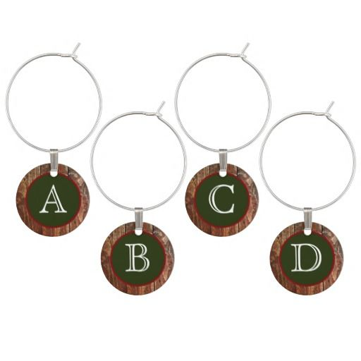 Monogram Rustic Cabin Wine Glass Charms