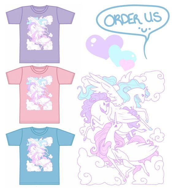 Silk screen pegasus shirt pre-order! Could work for fairy-kei, pastel grunge, spank!, decora, lolita, etc