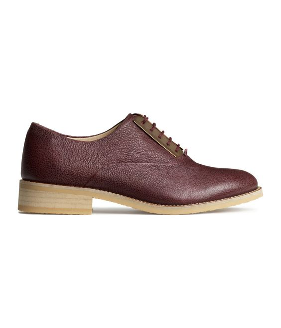 Premium-quality burgundy lace-up leather shoes with decorative metal plates. | H&M Shoes