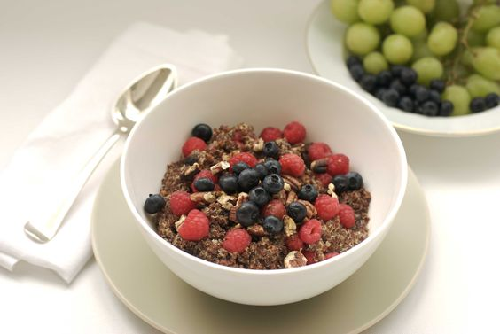 Amber Albarda: hot almond quinoa with raspberries and/or blue berries (breakfast)