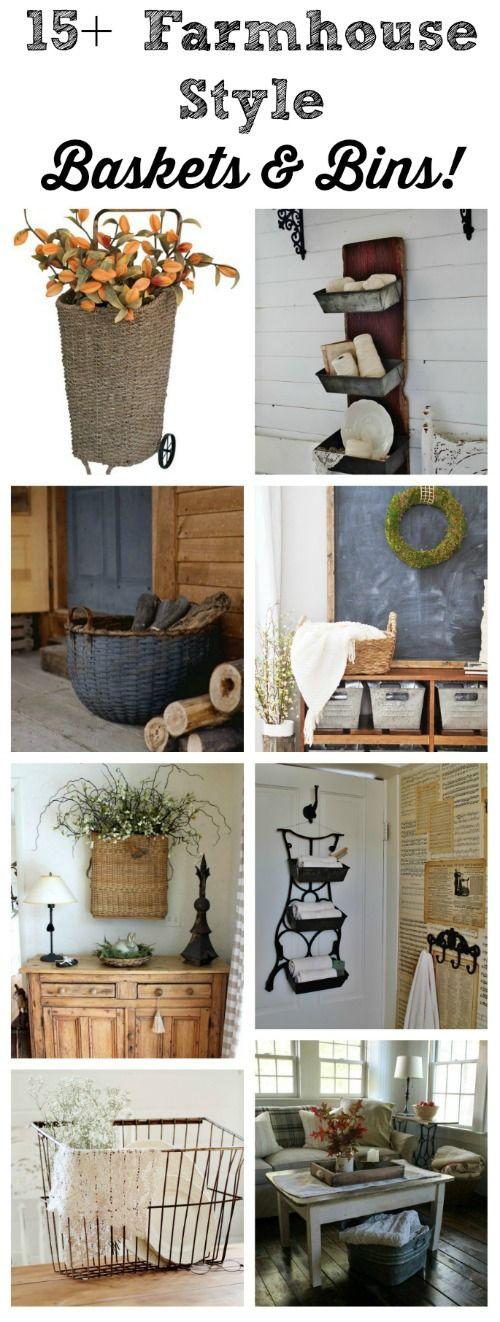 DIY 15+ Farmhouse Style Storage Baskets and Bins