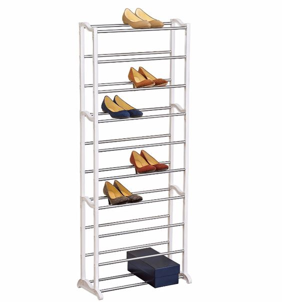 Shoe Storage Rack Organizer Steel 30 Pair Unit Shelving Tower Design  Lynk 30-Pair shoe rack is an excellent solution for a narrow vertical space and fits nicely within a standard 24-inch depth closet or any walk-in closet. Also can be used to organize shoe boxes or craft supplies stored in plastic shoe boxes.