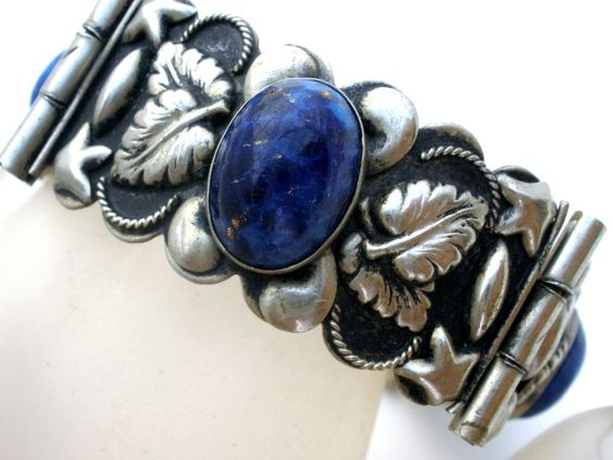 "Foiled Lapis Rhinestone Silver Bracelet 7 "" Vintage Beautiful Metal Work Blue #Unbranded"