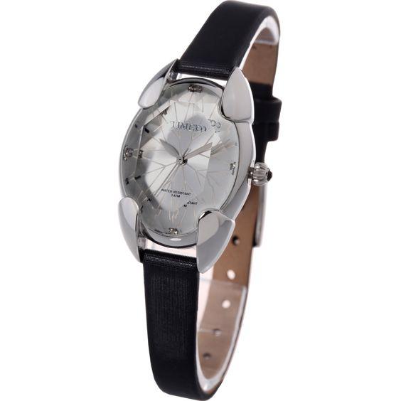 Time100 Rhombus Polyhedron Cutting Crystal Strap Material Satin Watch #W50010L