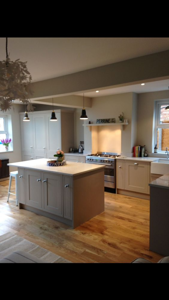 Howdens Tewksbury Island Worktop Inset Range Full Height Cupboards Home Pinterest