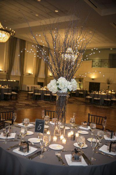Black and white ballroom wedding flower