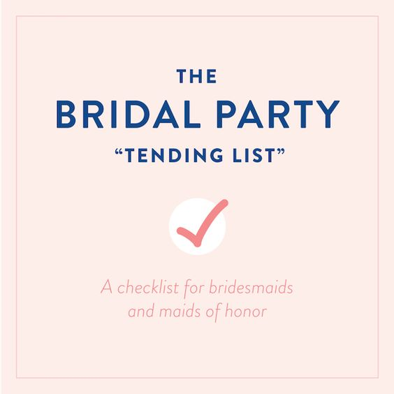 The Bridal Party Tending List: What Every Bridesmaid and Maid of Honor Should Know via Southern Weddings