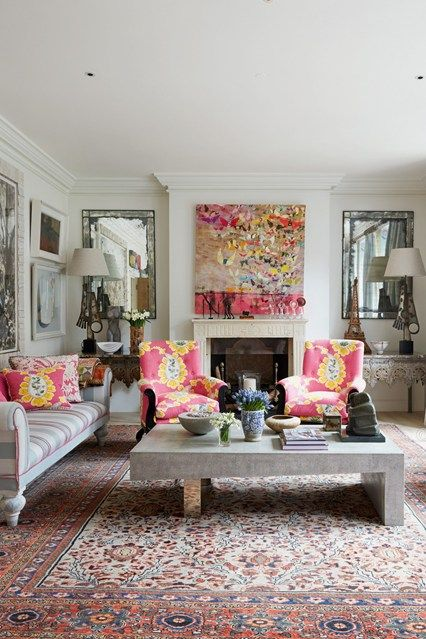 \London house. In the drawing room, Kit designed the coffee table herself and covered the two chairs in fabric by Raoul Textiles. On a budget? eBay is a great source for bright, vintage-inspired prints.