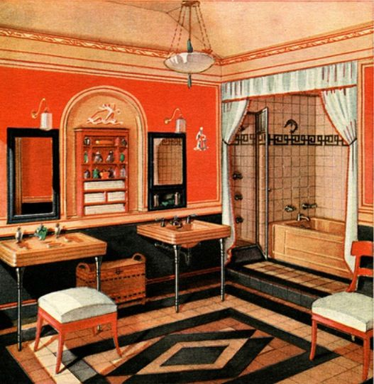 Art deco bathroom 1930 this john although the colors for 1930s interior designs