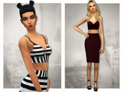 My Sims 4 Blog: Sentate's Aimee & Charlotte Co-ord set