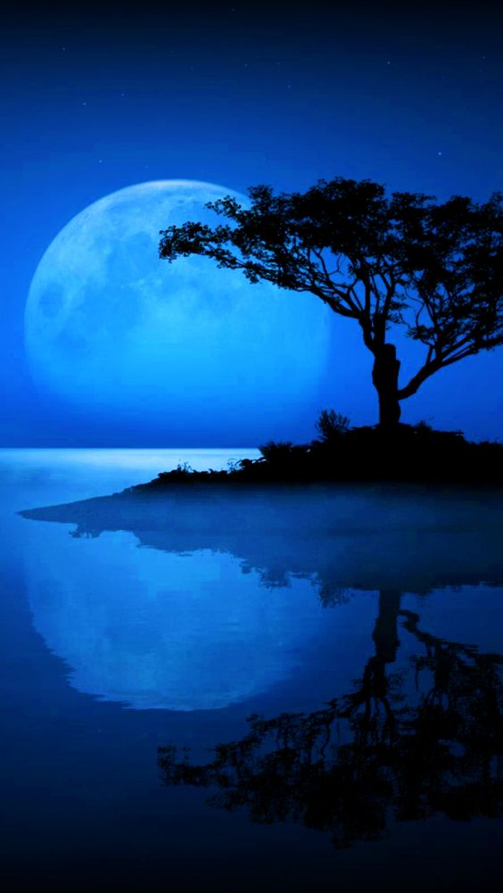 Moonlit Reflection in blue: