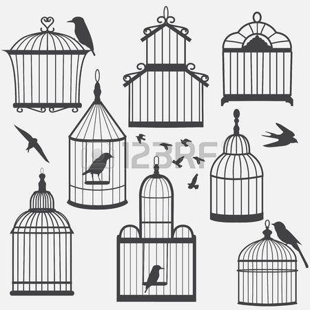 Uccello gabbie silhouette, illustrazione vettoriale Archivio Fotografico
