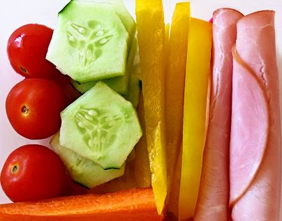 Healthy Lunch Box Ideas....Cheese sticks or shapes is a great addition!
