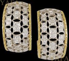 BUCCELLATI Two Tone Diamond Hoop Ear Clips