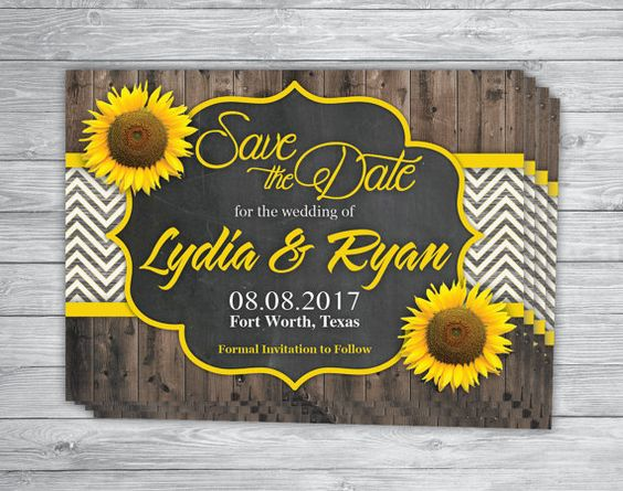 SUNFLOWER Save the Date RUSTIC WOOD Cheap Unique by PrintPros ...