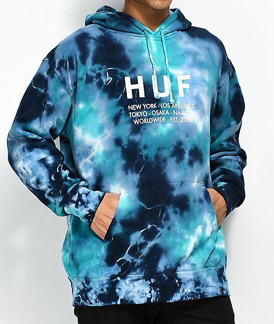 HUF Global Blue Tie Dye Hoodie | Tie dye hoodie, Huf hoodie