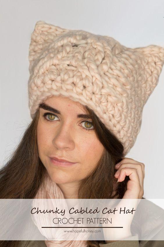 Black Cat Crochet Hat Pattern Free : Chunky Cabled Cat Hat Crochet Pattern Hat crochet ...