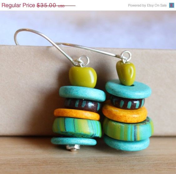 ON+SALE+Multicolor+African+Inspired+Earrings++Green+by+ColorSquare,+$32.20