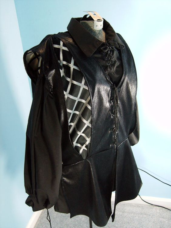 Black and White Slashed Doublet in Faux Leather by PavaneCostuming, $75.00