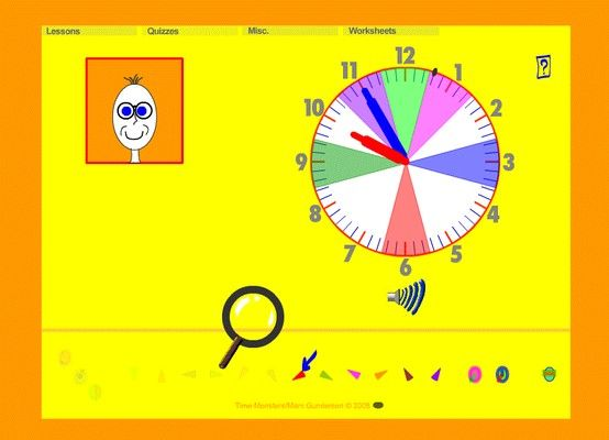 Time Monsters.  Free Online lessons for kindergarten telling time.  I used this for Matthew, and he loves it.  It moves through the concepts slowly (like Blues Clues) and methodically.  Includes quizzes and worksheets.  Matthew loves the monsters who try to disrupt all the time!