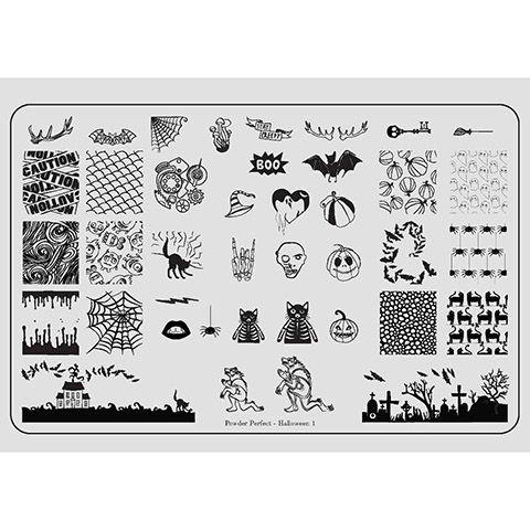 Powder Perfect- Stamping Plates - Halloween 01