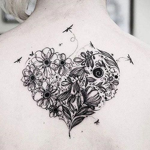 Heart Flower Tattoo Designs Best Flower Tattoos Cute Beautiful Flower Tattoo Designs Pretty Rose Heart Flower Tattoo Flower Tattoos Floral Tattoo Design