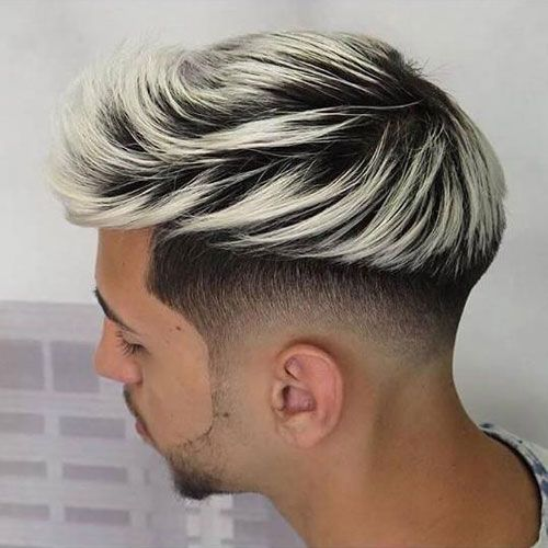 Low Bald Fade Platinum Highlights Platinum Blonde Hair Men Hair Color Blonde Haircuts