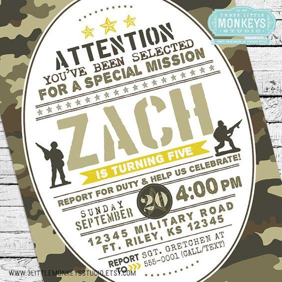 Invitación de cumpleaños de Camo! Un militar personalizado, ejército, invitación de soldado de juguete!