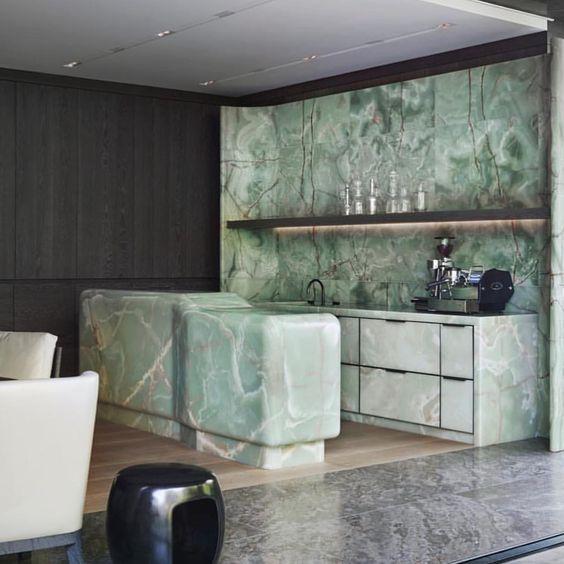 Green onyx kitchen inspiration #interiordesign #interiorarchitecture #inspiration