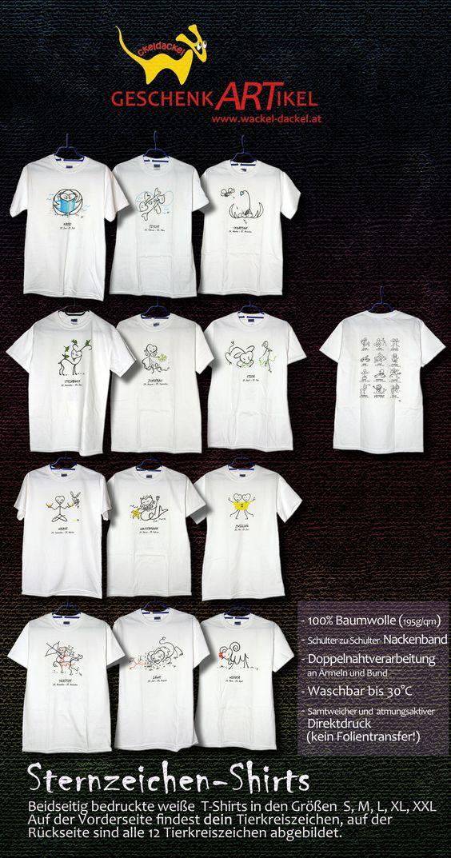 Sternzeichen T-Shirts, weiß, kurzarm, 100 % Baumwolle