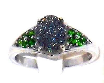 Ladies Ring size 9! 2.25ctw Green Drusy Quartz Russian Diopside Ring size 9 Christmas In July @eBay! http://r.ebay.com/WXHCBt