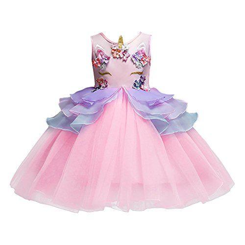 Unicorn Baby Girls Tutu Dress with Headband Flower Girls Wedding Dress Kids Birthday Party Costume Ankle-length