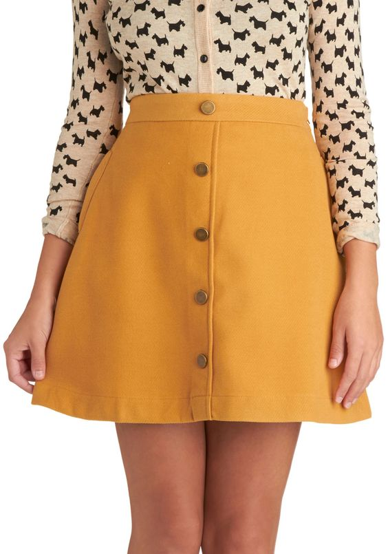 Back to Scholastic Skirt in Pencil Yellow | Mod Retro Vintage ...