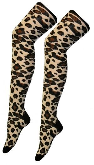 Ladies Leopard Print Over The Knee Socks
