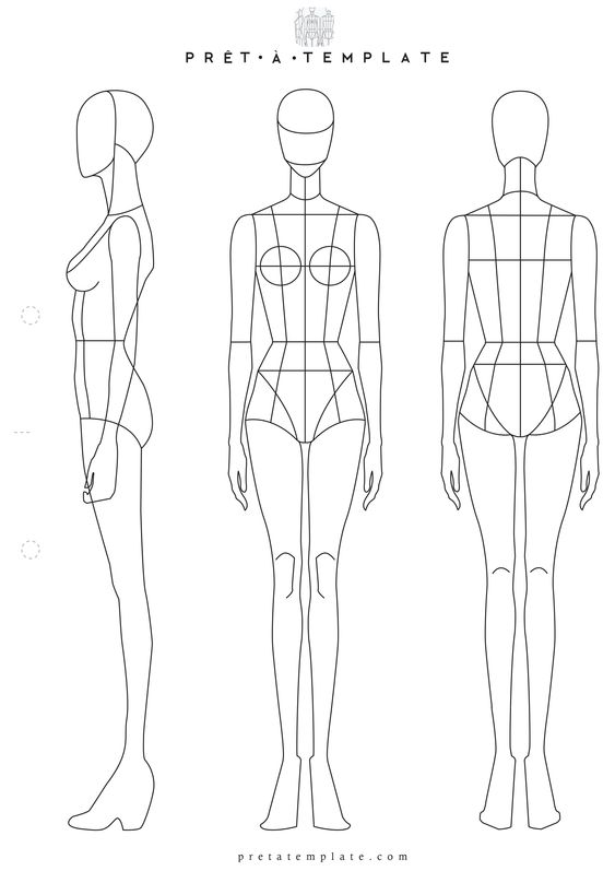 Body outline template fashion design pictures to pin on for Fashion designing templates free download